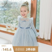 Dress wathet female Boatmouse / boatmouse 110cm 120cm 130cm 140cm 150cm Cotton 94.3% polyurethane elastic fiber (spandex) 5.7% spring and autumn princess Long sleeves Solid color Cotton blended fabric Pleats Class B Spring 2020
