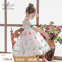 Dress white female Boatmouse / boatmouse 110cm 120cm 130cm 140cm 150cm Polyester 100% summer Korean version Short sleeve flower polyester fiber Pleats Class B Summer 2021 3 years old, 4 years old, 5 years old, 6 years old, 7 years old, 8 years old, 9 years old, 10 years old