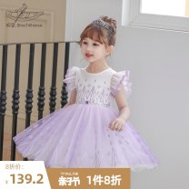 Dress White dress and purple skirt female Boatmouse / boatmouse 110cm 120cm 130cm 140cm 150cm Cotton 95% polyurethane elastic fiber (spandex) 5% summer princess Short sleeve printing Cotton blended fabric Pleats Class B Summer 2021