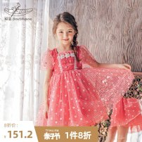 Dress Red check female Boatmouse / boatmouse 110cm 120cm 130cm 140cm 150cm Polyester 100% summer princess Short sleeve flower polyester fiber Pleats Class B Summer 2021 3 years old, 4 years old, 5 years old, 6 years old, 7 years old, 8 years old, 9 years old, 10 years old