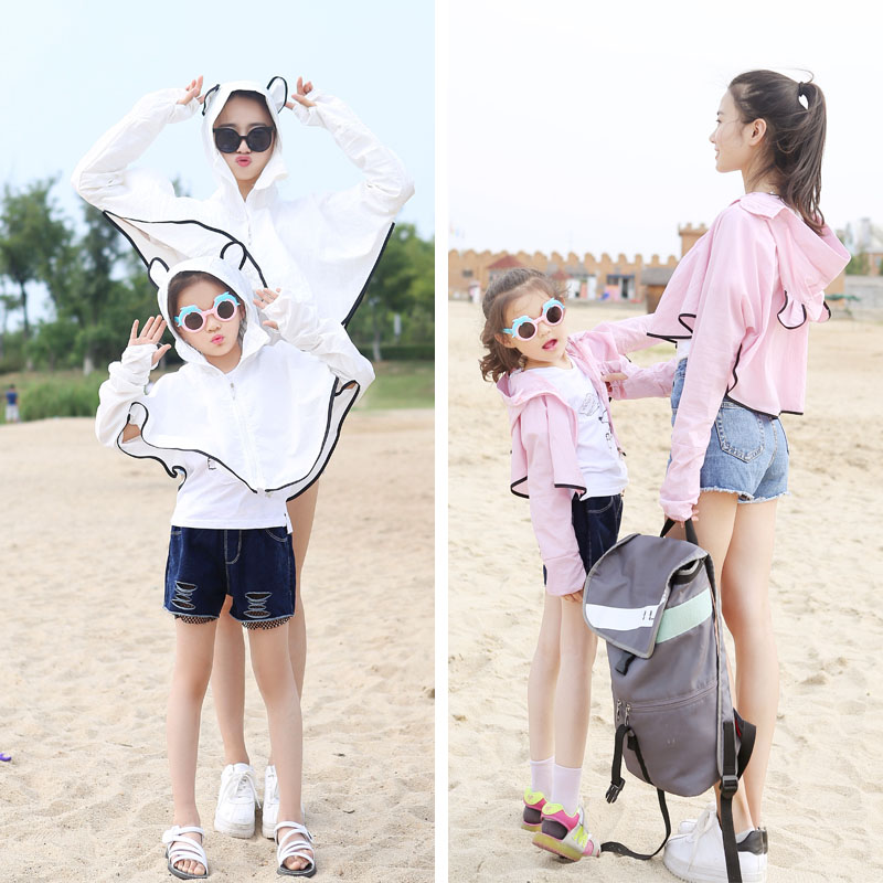 Scarf / silk scarf / Shawl other summer female Shawl sunshade Korean version triangle Student children - 7-14 years old parent-child youth Solid color Splicing 81% (inclusive) - 95% (inclusive)