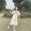 Dress Summer 2020 White, blue, red S,M,L,XL Mid length dress singleton  elbow sleeve commute other Elastic waist other Socket A-line skirt pagoda sleeve Others 18-24 years old Type H ethnic style Embroidery 81% (inclusive) - 90% (inclusive) other