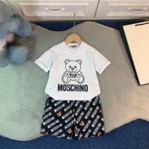 suit Other / other White T ➕ shorts 100cm,110cm,120cm,130cm,140cm,150cm female summer leisure time Short sleeve + pants Thin money There are models in the real shooting Socket nothing Cartoon animation cotton Expression of love Chinese Mainland