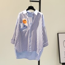 shirt Blue stripe S. M, l, XL, 2XL, 3XL, 500 pieces, starting at 29 yuan Autumn 2021 other 51% (inclusive) - 70% (inclusive) Long sleeves commute Medium length Polo collar Single row multi button routine stripe 18-24 years old Straight cylinder Korean version Print, pocket