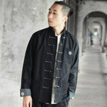 Jacket Other / other Fashion City Black, light blue M,L,XL,2XL,3XL,4XL,5XL routine standard Other leisure autumn JK05 Long sleeves Wear out stand collar Chinese style youth routine Single breasted 2020 Cloth hem washing Loose cuff Button decoration Three dimensional bag cotton More than 95%