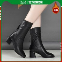 Boots 35 36 37 38 39 40 PU The brave win High heel (5-8cm) Thick heel PU Middle cylinder Round head PU cotton Winter of 2019 Back zipper Britain rubber Solid color Martin boots Adhesive shoes Youth (18-40 years old) winter routine