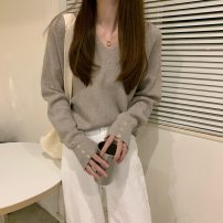 Wool knitwear Autumn 2020 Average size Black, white, apricot, dark brown, camel Long sleeves singleton  Socket Viscose 30% and below Regular routine commute easy V-neck routine Solid color 18-24 years old Yin Rulan Button