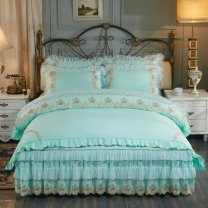 Bedding Set / four piece set / multi piece set cotton Embroidery Solid color 133x72 Dinghong cotton 4 pieces 40 Light powder, water blue, milk white, Pink Jade Bedspread type Qualified products Princess style 100% cotton twill Reactive Print