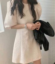 Women's large Summer 2021 Milky white, black Average size Dress singleton  commute moderate Cardigan Korean version Crew neck FS116 96% and above Middle-skirt