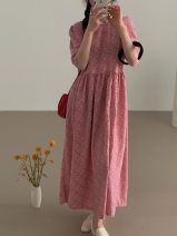 Women's large Summer 2021 Pink Average size Dress singleton  commute easy moderate Short sleeve Korean version Crew neck polyester fiber FS083 96% and above longuette