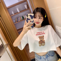 T-shirt White, pink, mint Average size Spring 2021 Short sleeve Crew neck easy Super short routine commute cotton 30% and below letter