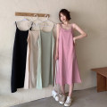 Dress Summer 2021 Average size Mid length dress singleton  Sleeveless commute One word collar High waist Solid color Socket A-line skirt 18-24 years old Type A Korean version 30% and below other