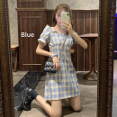 Dress Spring 2021 Picture color S, M Short skirt singleton  Short sleeve commute square neck High waist lattice Socket A-line skirt puff sleeve Others 18-24 years old Type A Korean version fold 30% and below other