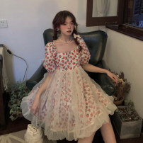 Dress Summer 2021 Short skirt singleton  Short sleeve Sweet square neck Broken flower High waist Condom 18-24 years old A-line skirt puff sleeve 30% and below Type A Splicing, mesh other One size fits all