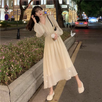 Dress Spring 2021 Red, apricot, black Average size Mid length dress singleton  Long sleeves commute V-neck High waist Solid color Three buttons Pleated skirt other 18-24 years old Type A Korean version Button 30% and below other