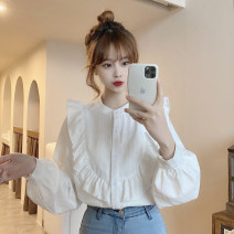 shirt Blue, white Average size Spring 2021 other 30% and below Long sleeves commute Regular Crew neck Single row multi button routine Solid color 18-24 years old Korean version Button