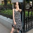 Dress Summer 2021 Suspender dress, short sleeve dress S, M Short skirt singleton  Sleeveless Sweet V-neck High waist Decor Socket A-line skirt camisole 18-24 years old Type A 30% and below other