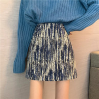 skirt Spring 2021 S,M,L Blue, black Short skirt commute High waist A-line skirt Type A 18-24 years old 30% and below other Retro