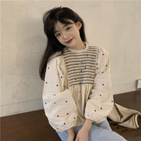 shirt Apricot S,M,L Spring 2021 other 30% and below Long sleeves Sweet Regular Crew neck other puff sleeve other 18-24 years old fold college