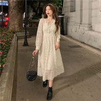 Dress Spring 2021 Black, apricot S,M,L Mid length dress singleton  Long sleeves commute V-neck High waist A-line skirt routine 18-24 years old Type A Korean version Stitching, lace 30% and below other