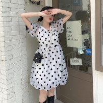 Dress Dot Other Summer 2021 Short skirt Short sleeve singleton  commute V-neck High waist routine A-line skirt Condom 18-24 years old other 30% and below Type A other S,M