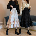 skirt Spring 2021 Average size Apricot, black Mid length dress commute High waist Ruffle Skirt Solid color Type A 18-24 years old 30% and below other fold Korean version