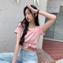 T-shirt Blue, gray, white, black, pink Average size Summer 2021 Short sleeve Self cultivation have cash less than that is registered in the accounts routine commute other 30% and below 18-24 years old Korean version youth Solid color Splicing