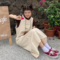 Dress Summer 2021 Apricot vest skirt, coffee short sleeve Average size Mid length dress singleton  Sleeveless Sweet Loose waist Broken flowers Socket A-line skirt straps 18-24 years old Type A 30% and below other college
