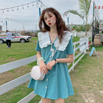 Dress Spring 2021 Average size Short skirt singleton  Short sleeve commute Doll Collar High waist Solid color Single breasted A-line skirt other Others 18-24 years old Type A Korean version Button, button 30% and below other