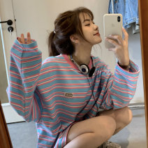 T-shirt Blue bar, green bar Average size Spring 2021 Long sleeves Crew neck easy Medium length routine commute other 30% and below 18-24 years old Korean version youth Thick horizontal stripe