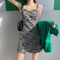 Dress Spring 2021 S. M, average size Short skirt singleton  Sleeveless commute One word collar High waist Zebra pattern A-line skirt routine camisole 18-24 years old Type X Korean version 30% and below other