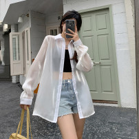 shirt Champagne, green, white, pink Average size Summer 2021 other 30% and below Long sleeves commute Medium length Polo collar Single row multi button routine Solid color 18-24 years old Korean version Button