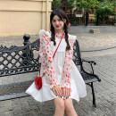 Fashion suit Summer 2021 Average size Single piece flower shirt, white suspender skirt, blue suspender skirt 18-25 years old 30% and below