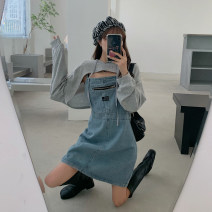 Dress Spring 2021 Denim skirt, top piece S. M, average size Short skirt singleton  Sleeveless commute High waist other other A-line skirt camisole 18-24 years old Type A Korean version 30% and below other