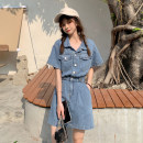 Dress Short skirt Short sleeve singleton  commute Polo collar Solid color High waist Single breasted 18-24 years old routine A-line skirt other Type A Other Korean version other Summer 2021 30% and below S,M,L