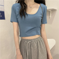 T-shirt Purple, blue, green, white, khaki, black, orange, pink, brownish red Average size Summer 2021 Short sleeve V-neck Self cultivation have cash less than that is registered in the accounts commute other 30% and below 18-24 years old Korean version
