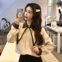 shirt Apricot, black, blue, Navy, red Average size Spring 2021 other 30% and below Long sleeves commute Regular Polo collar Single row multi button routine Solid color 18-24 years old Korean version Button, button