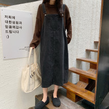 Dress Spring 2021 dark grey S,M,L Mid length dress Sleeveless Sweet Loose waist Socket straps 18-24 years old Type H 30% and below other other college