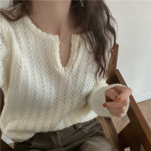 Wool knitwear Spring 2021 Average size White, coffee Long sleeves singleton  Socket other 30% and below Regular thickening commute Self cultivation V-neck routine Solid color Socket Korean version 18-24 years old Hollowing out
