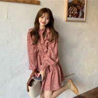 Dress Spring 2021 Red, black Average size Middle-skirt singleton  Long sleeves commute Crew neck High waist Broken flowers Socket A-line skirt other 18-24 years old Type A Korean version 30% and below other other