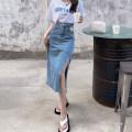 skirt Summer 2021 S. M, l, average size Denim blue skirt, denim black skirt, letter short sleeve Mid length dress commute High waist A-line skirt Type A 18-24 years old 30% and below other Retro