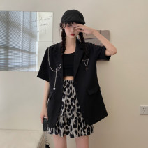 suit Summer 2021 Suit jacket + chain, leopard skirt S, M Short sleeve Medium length easy tailored collar commute routine Solid color 18-24 years old 30% and below Chains, pockets, buttons