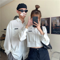 shirt White men's, white women's Average size Spring 2021 other 30% and below Long sleeves commute Short style (40cm < length ≤ 50cm) Polo collar Single row multi button routine Solid color 18-24 years old Self cultivation Korean version