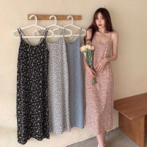 Dress Summer 2021 blue , Pink , black , blue and white color Average size Mid length dress singleton  Sleeveless commute V-neck High waist Broken flowers Socket A-line skirt camisole 18-24 years old Type A Korean version printing 30% and below other