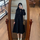 Dress Spring 2021 Black, red Average size Mid length dress singleton  Long sleeves commute Polo collar High waist Single breasted other Others 18-24 years old Type A Retro Bows, folds, lacing, stitching 30% and below other