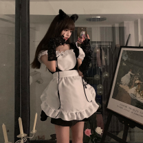 Dress Summer 2021 black S,M,L Short skirt singleton  Short sleeve Sweet High waist A-line skirt puff sleeve 18-24 years old Type A Lotus leaf edge 30% and below other college