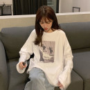T-shirt Graph color Average size Spring 2021 Long sleeves Crew neck easy Regular routine commute other 30% and below 18-24 years old Korean version youth character printing
