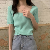 Wool knitwear Summer 2021 Average size Black, purple, green, yellow, white, orange, rose red Short sleeve singleton  Socket other 30% and below have cash less than that is registered in the accounts routine commute square neck routine Solid color Socket Korean version 18-24 years old