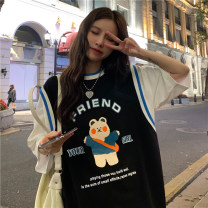 T-shirt Blue, black Average size Summer 2021 Short sleeve Crew neck Fake two pieces Medium length routine commute other 30% and below 18-24 years old Korean version youth Printing, splicing