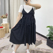 Dress Summer 2021 Wave point Average size longuette Two piece set Short sleeve street Crew neck High waist Solid color Socket A-line skirt routine camisole 25-29 years old Type A fold Chiffon cotton Europe and America